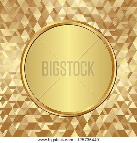 golden banner on textured background - vector illustration