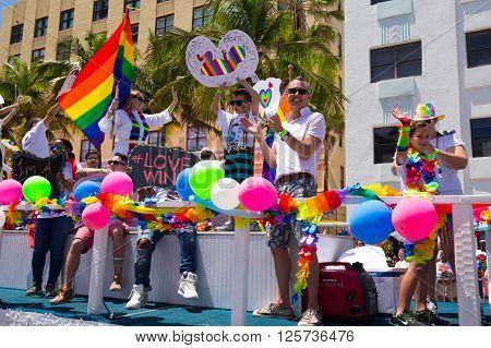 MIAMI BEACH, FLORIDA, APR 2016: The 8th Annual Miami Beach Gay Pride Parade, along Ocean Drive in Miami Beach, Florida. Lesbian, gay, bi, and transgender celebrate diversity. Editorial image only.