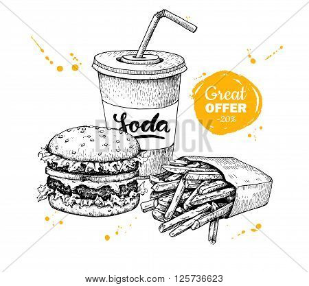 Vector vintage fast food special offer. Hand drawn monochrome junk food illustration. Soda burger and french fries drawing. Great for poster banner voucher coupon business promote.