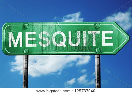mesquite road sign on a blue sky background