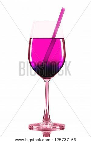 Red wineglass with pink cocktail and straw on a white background isolated