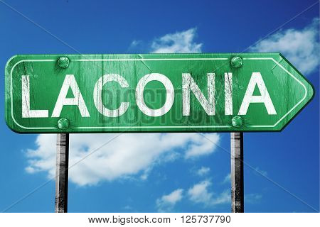 laconia road sign on a blue sky background