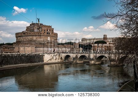View of the bridge Ponte Sant'Angelo leading towards Castel Sant'Angelo over the River Tiber