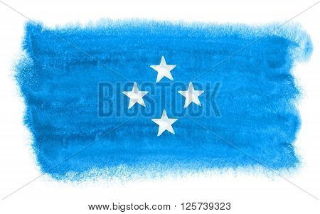 a watercolor illustration of the Micronesia flag