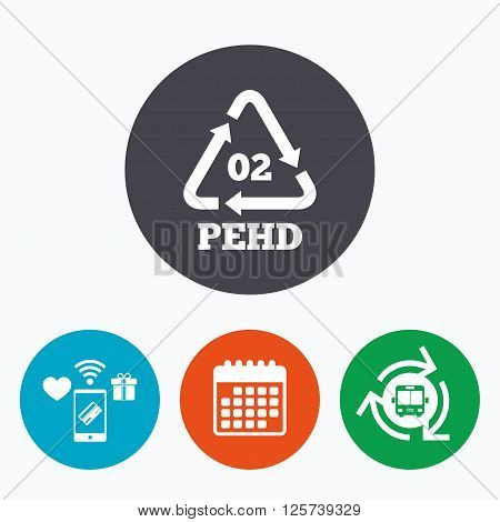 Hd-pe 02 icon. High-density polyethylene sign. Recycling symbol. Mobile payments, calendar and wifi icons. Bus shuttle.