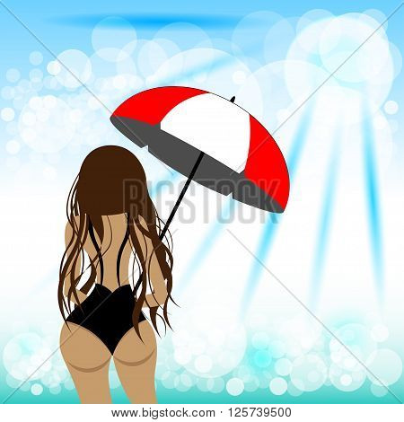 Sexy girl in swimwear dressed for summer vacation with beach umbrella