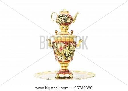 Traditional Russian samovar isolated on white background