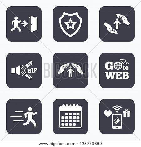 Mobile payments, wifi and calendar icons. Life insurance hands protection icon. Human running symbol. Emergency exit with arrow sign. Go to web symbol.