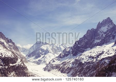 Mountain glacier Mer de Glace view in Chamonix France