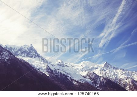 Mountain Mont Blanc view from Chamonix France