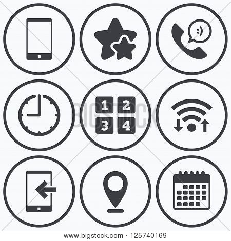 Clock, wifi and stars icons. Phone icons. Smartphone incoming call sign. Call center support symbol. Cellphone keyboard symbol. Calendar symbol.