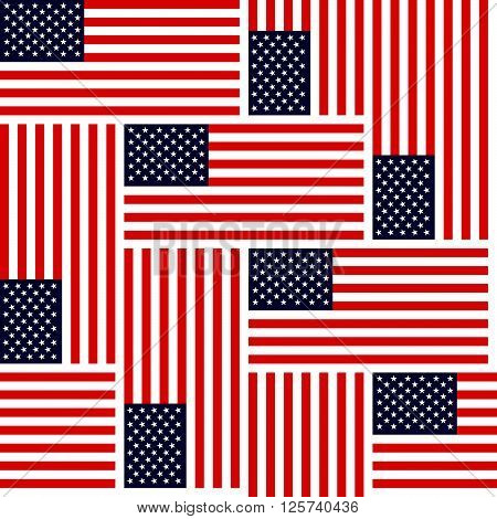 Flag Of The United States Of America, Colorfull Seamless Repeating Vector Background Pattern