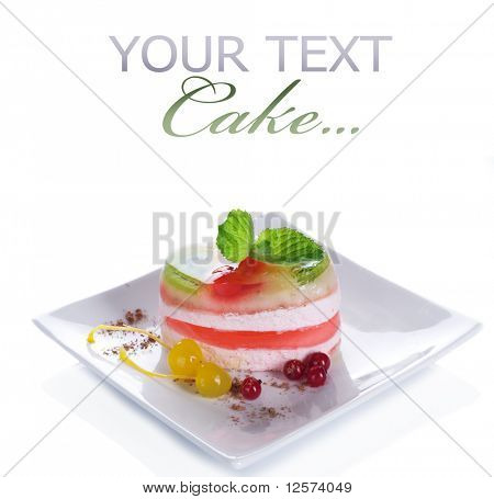 Cake over white.Light Dessert