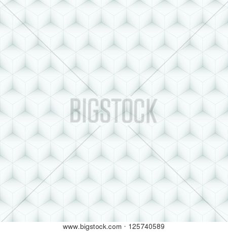 Repeating Volumetric Gray Cubes Mosaic, Seamless Abstract Vector Pattern