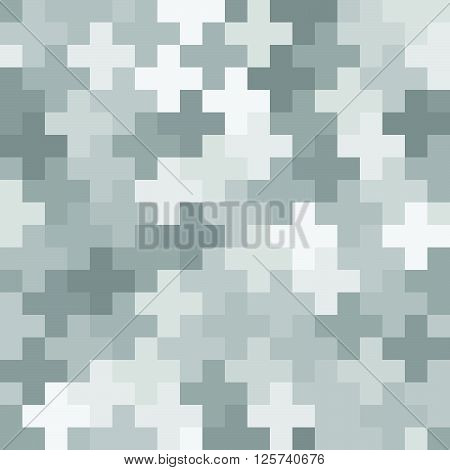 Urban Camouflage Fabric Texture With Structure Of Monochrome Crosses - Vector Seamless Pattern