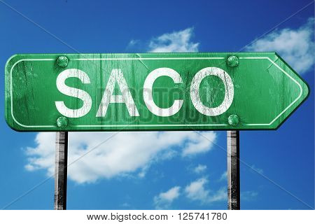 saco road sign on a blue sky background