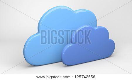 Cloud computing technology concept on black background - 3D render