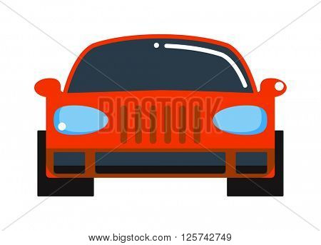 Generic red car front view design flat vector illustration isolated on white.