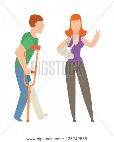 Cast on an broken foot of woman hard pain medical accident character vector illustration