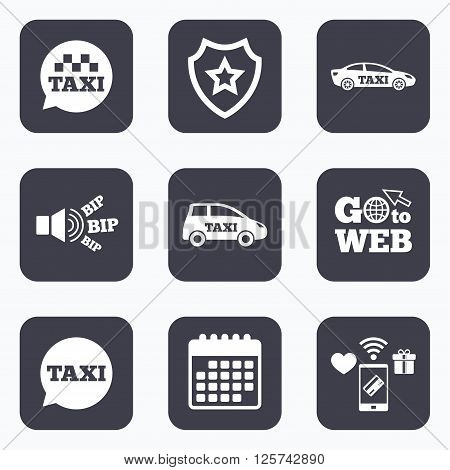 Mobile payments, wifi and calendar icons. Public transport icons. Taxi speech bubble signs. Car transport symbol. Go to web symbol.