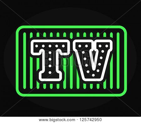 Light bulb vector neon TV show with creative retro effect letters.