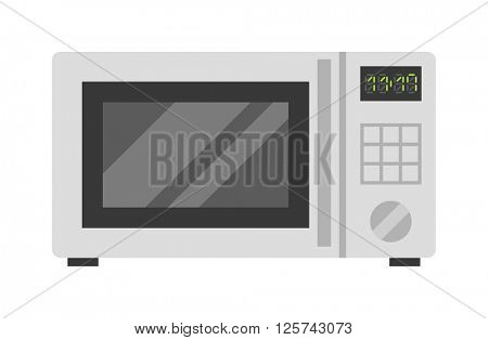 Microwave oven technology appliance equipment modern flat vector illustration.
