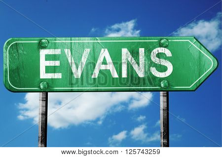evans road sign on a blue sky background