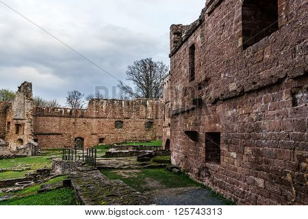 Ruins Of Medieval Castle Wangenbourg On The Top Of Hill, Alsace, France