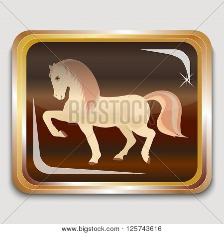 Year wooden horse on the eastern horoscope. Square icon. Vector illustration.