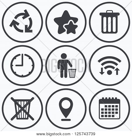 Clock, wifi and stars icons. Recycle bin icons. Reuse or reduce symbols. Human throw in trash can. Recycling signs. Calendar symbol.