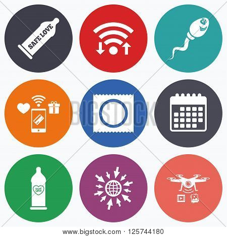 Wifi, mobile payments and drones icons. Safe sex love icons. Condom in package symbol. Sperm sign. Fertilization or insemination. Heart symbol. Calendar symbol.