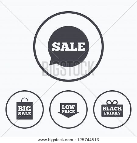 Sale speech bubble icon. Black friday gift box symbol. Big sale shopping bag. Low price arrow sign. Icons in circles.