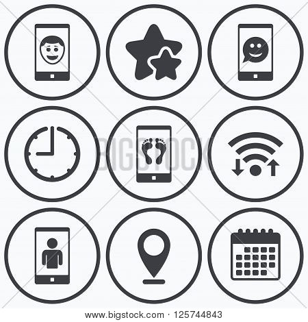 Clock, wifi and stars icons. Selfie smile face icon. Smartphone video call symbol. Self feet or legs photo. Calendar symbol.