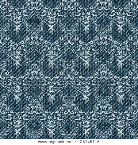 Denim seamless background with lacy pattern. Vector illustration.