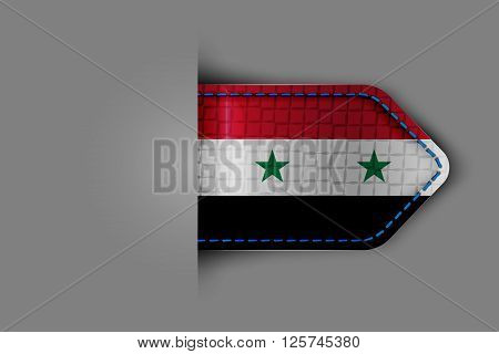 Flag of Syria in the form of a glossy textured label or bookmark. Vector illustration.
