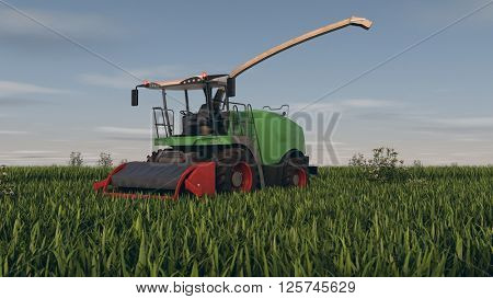 3d renderring of a grass combine