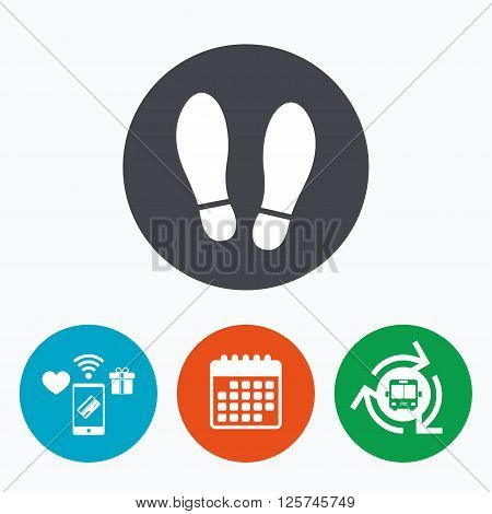 Imprint soles shoes sign icon. Shoe print symbol. Mobile payments, calendar and wifi icons. Bus shuttle.