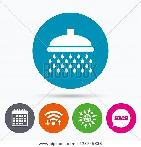 Wifi, Sms and calendar icons. Shower sign icon. Douche with water drops symbol. Go to web globe.