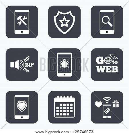 Mobile payments, wifi and calendar icons. Smartphone icons. Shield protection, repair, software bug signs. Search in phone. Hammer with wrench service symbol. Go to web symbol.