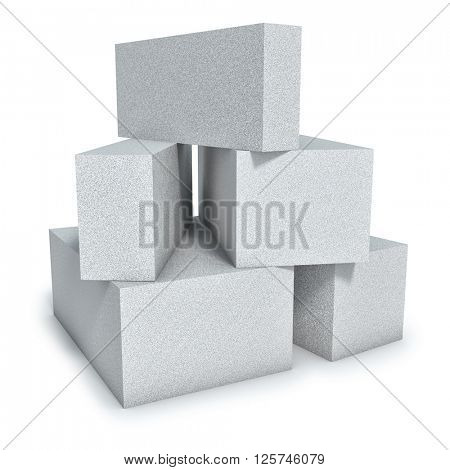 Aerated concrete wall construction blocks isolated on white background. 3D render.