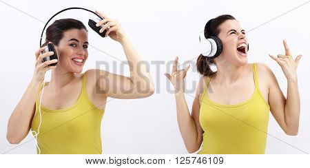 fun woman listening to music in headphones and scream