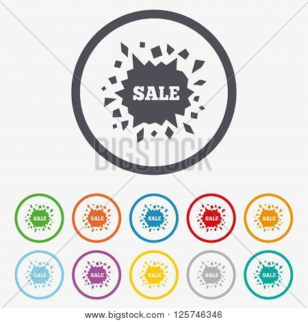 Sale icon. Cracked hole symbol. Round circle buttons with frame.
