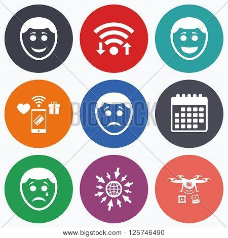 Wifi, mobile payments and drones icons. Human smile face icons. Happy, sad, cry signs. Happy smiley chat symbol. Sadness depression and crying signs. Calendar symbol.