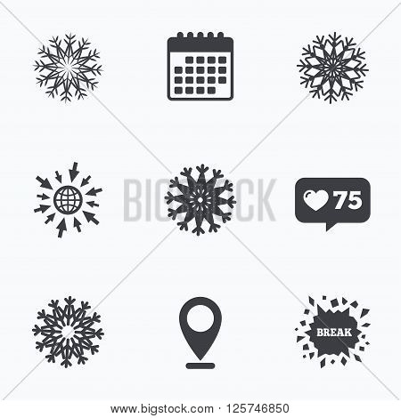 Calendar, like counter and go to web icons. Snowflakes artistic icons. Air conditioning signs. Christmas and New year winter symbols. Frozen weather. Location pointer.