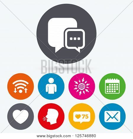 Wifi, like counter and calendar icons. Social media icons. Chat speech bubble and Mail messages symbols. Love heart sign. Human person profile. Human talk, go to web.