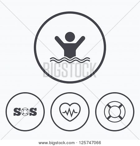 SOS lifebuoy icon. Heartbeat cardiogram symbol. Swimming sign. Man drowns. Icons in circles.