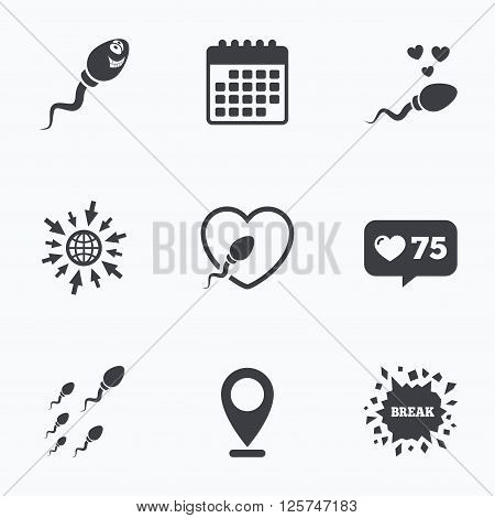 Calendar, like counter and go to web icons. Sperm icons. Fertilization or insemination signs. Safe love heart symbol. Location pointer.