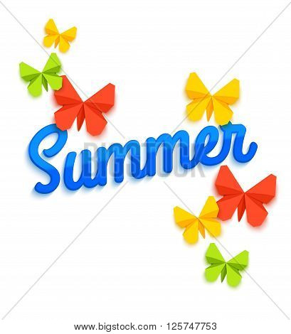 Summer Sale Banner with paper butterfly. Summer Sale background. Summer Sale poster. Summer Sale banner template. Summer Sale vector. Summer Sale design. Vector illustration.