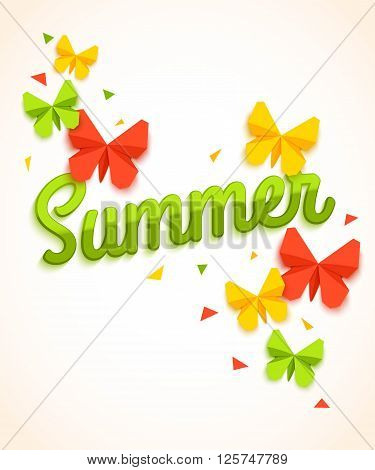 Summer Sale Banner with paper butterfly and confetti. Summer Sale background. Summer Sale poster. Summer Sale banner template. Summer Sale vector. Summer Sale design. Vector illustration.