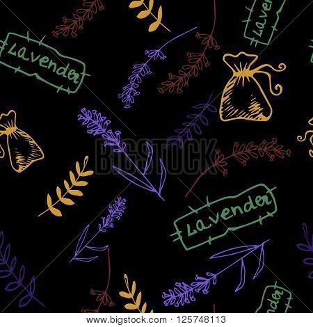Lavender. Seamless pattern  on the black background. Hand-drawn original background